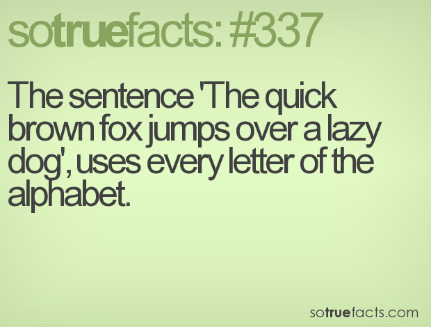 sentence with every letter the sentence the brown fox jumps a lazy 881