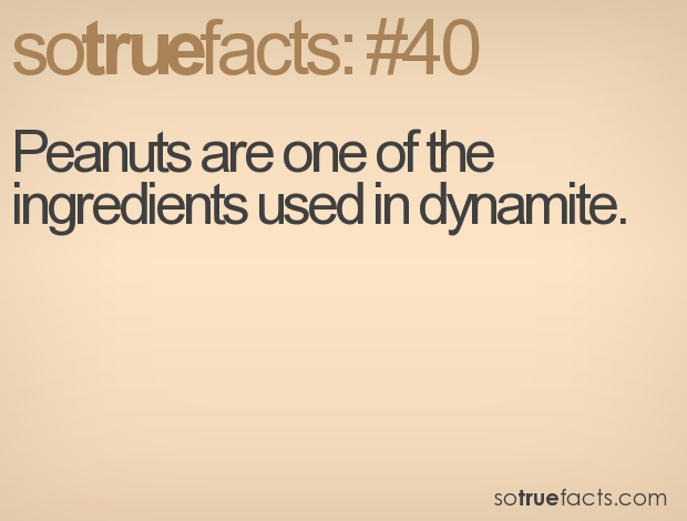 Peanuts are one of the ingredients used in dynamite.