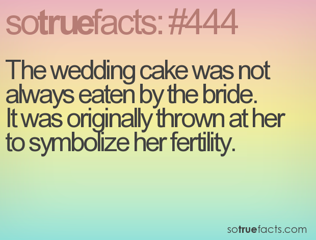 The wedding cake was not always eaten by the bride. 