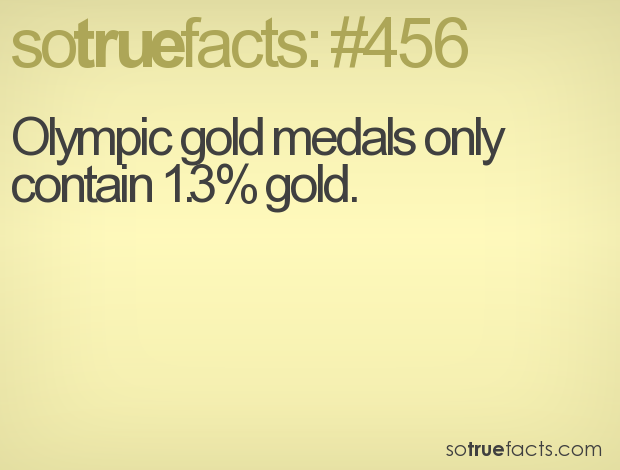 Olympic gold medals only contain 1.3% gold.