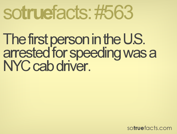 The first person in the U.S. arrested for speeding was a NYC cab driver.