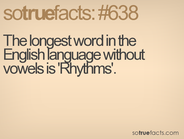 The Longest Word In The English Language Without Vowels Is Rhythms