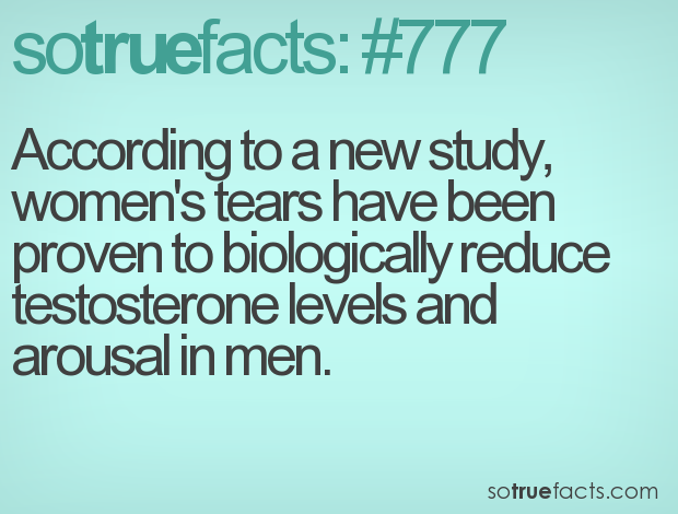 According to a new study, women's tears have been proven to biologically reduce testosterone levels and arousal in men.