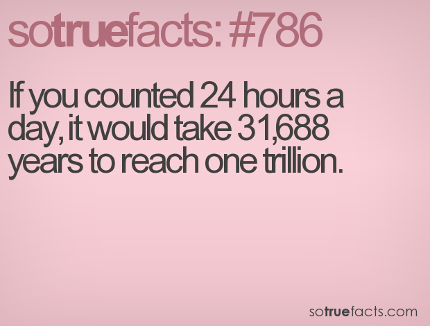 If you counted 24 hours a day, it would take 31,688 years to reach one trillion.
