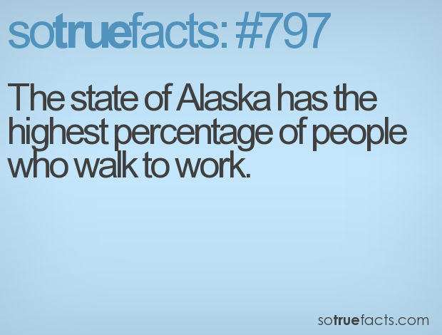 The state of Alaska has the highest percentage of people who walk to work.
