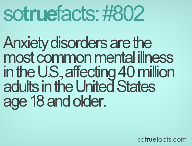 Anxiety disorders are the most common mental illness in the U.S., affecting 40 million adults in the United States age 18 and older.