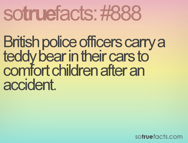 British police officers carry a teddy bear in their cars to comfort children after an accident.