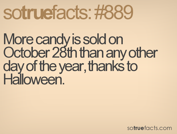 More candy is sold on October 28th than any other day of the year, thanks to Halloween.