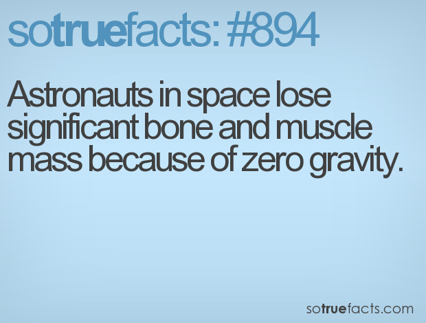 Astronauts in space lose significant bone and muscle mass because of zero gravity.