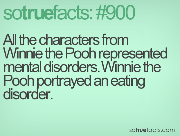 All the characters from Winnie the Pooh represented mental disorders. Winnie the Pooh portrayed an eating disorder.