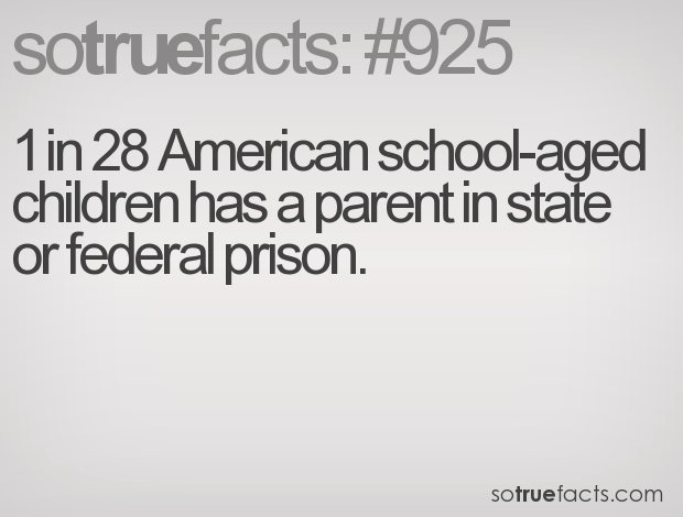 1 in 28 American school-aged children has a parent in state or federal prison.