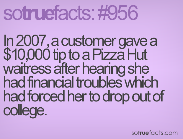 In 2007, a customer gave a $10,000 tip to a Pizza Hut waitress after hearing she had financial troubles which had forced her to drop out of college.