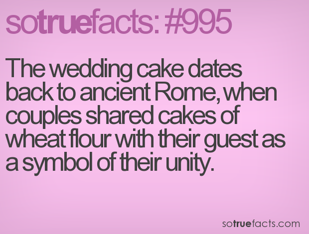 The wedding cake dates back to ancient Rome, when couples shared cakes of wheat flour with their guest as a symbol of their unity.
